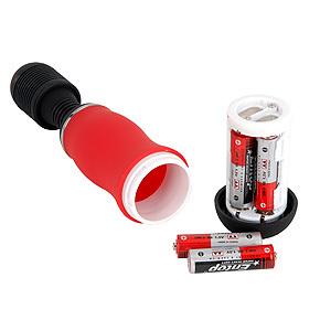 電源は単三電池×4本(付属)。底部キャップを捻り、電池ボックスを引き出して、正しい向きにセットしてください。
