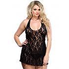 Plus Size Halter Rose Lace Dress Black