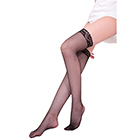 Simple Garter Black Stocking (Fine)
