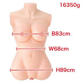スリーサイズはまさに等身大の成人女性。バストもちょうどいい大きさで美しい造型です。 ※数値はNLS実測値