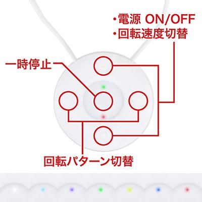 上下ボタンで回転スピード(7速)、左右ボタンで回転パターン(7種)を切り替えます。前作は中央ボタンでターボでしたが、本作は押している間だけ一時停止します。