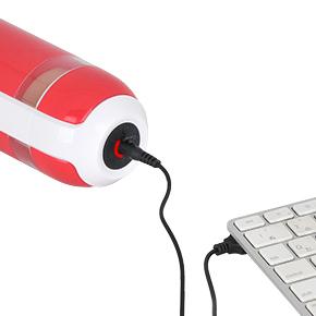 USB充電式でフル充電までは約1.5時間、連続可動は最大約180分。専用ジャックを上面中央に差し込みます。