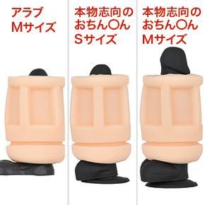 """ペニスサイズ別の貫通具合を比較。日本人平均サイズといわれる""""アラブM""""でも、これしか露出しません…。"""