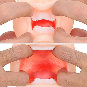 2重構造によってピンクの粘膜が広がる口内。歯の存在感は大きいものの、意外とジャマには感じませんでした。