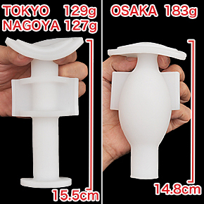「TOKYO」と「NAGOYA」の外観は同じ。「OSAKA」のみ、ゴロッと丸みのあるボディです。 ※数値はNLS実測値