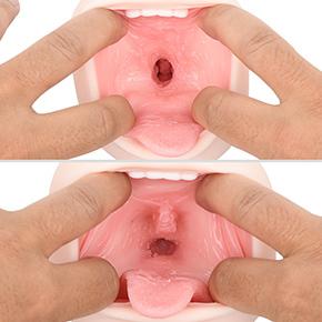 """キュッと狭まった穴が""""真空喉輪締め""""スポット。その奥には喉チンコのような突起があり、擦れるといい具合です。"""