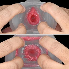 2段階くぱぁで、処女膜ギミックがお目見えします。この狭い穴にムリヤリ通すんですから、そりゃキツいですわな