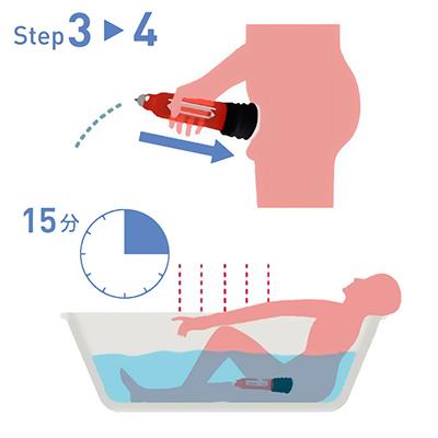 【使用手順3〜4】本体を押し込んでポンピングすると、上部バルブから余分な水と空気が排出され、吸引状態に入ります。1回の使用時間は最大15分までとしてください。